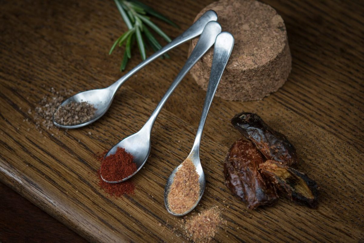 Salt, Spice and Date Sugar on spoons w' rosemary