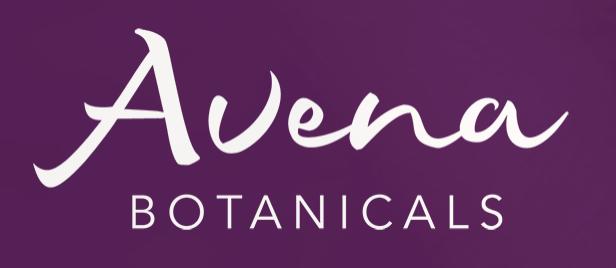 Avena Botanicals Text Logo with dark purple background