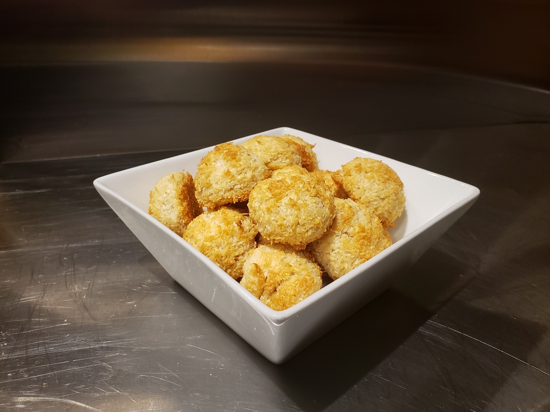 Coconut Macaroons in a square white dish
